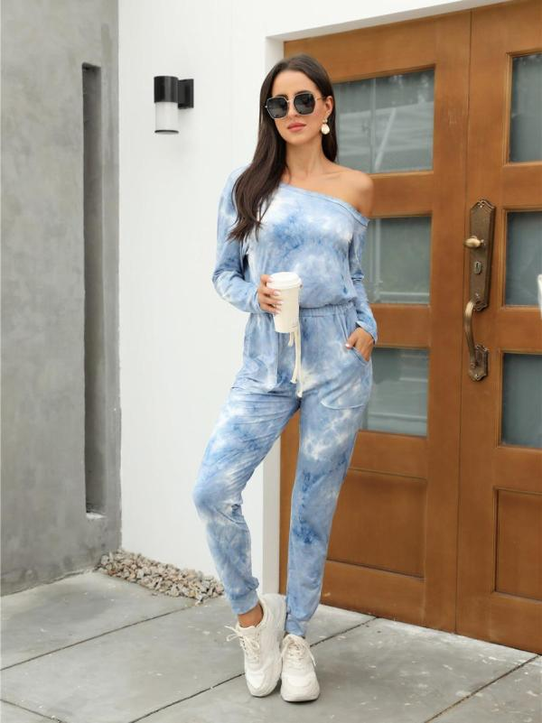 shestar wholesale oblique shoulder tie dye homestyle jumpsuit