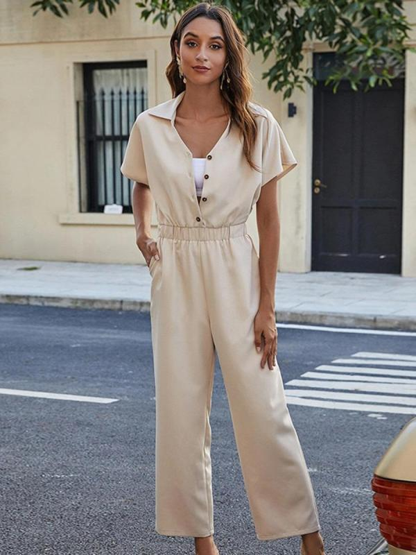 shestar wholesale office button decor wide leg plain jumpsuit