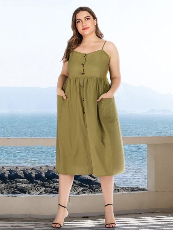 Plus Size Plain Pocket Cami Shirt Dress
