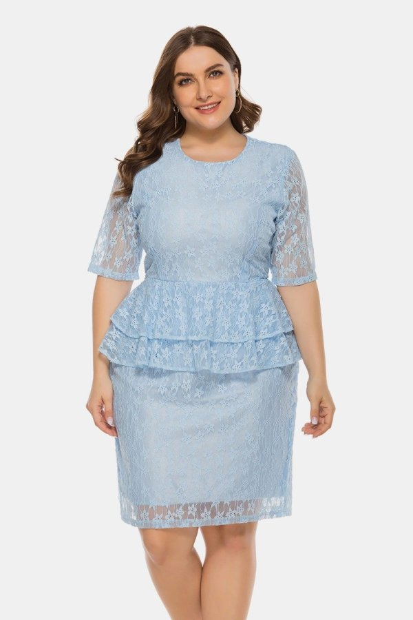 Plus Size Ruffle Trim Lace Dresses