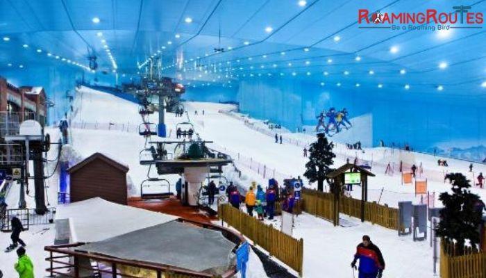 Morning Snow park and Evening Burj Khalifa