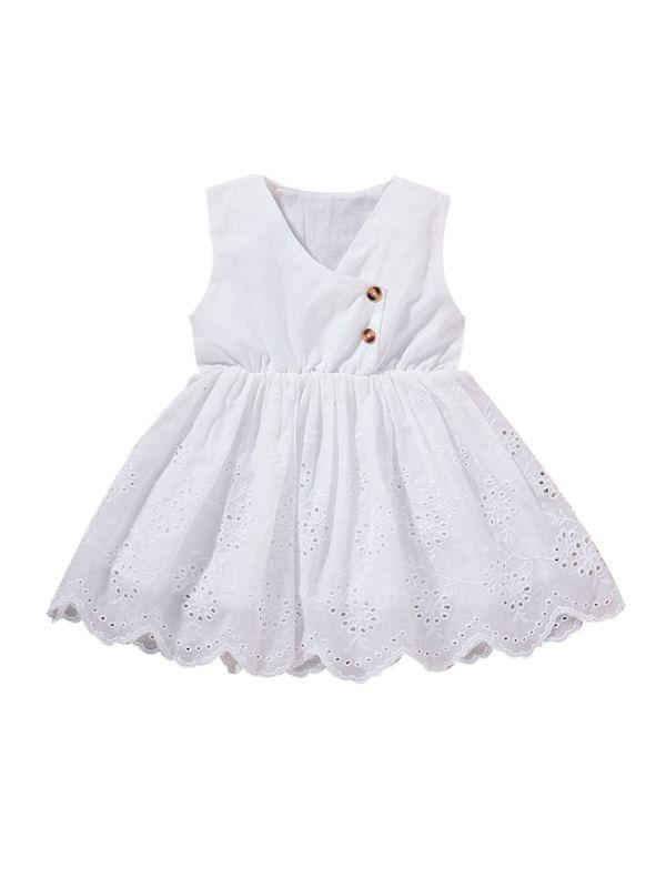 Baby Girl Button Decor White Dress