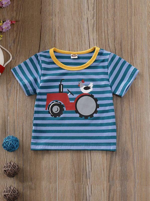 Kid Boy Car Print Striped T-shirt