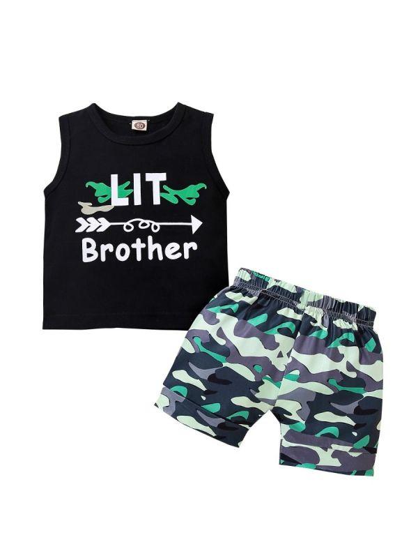 2 Pieces Infant Boy Set Lit Brother Pattern Tank Top & Camo Shorts