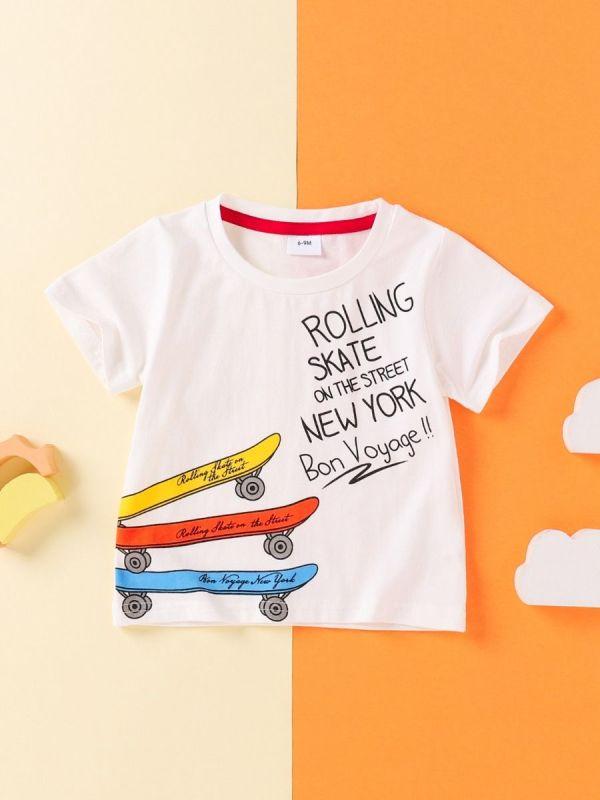 Baby Toddler Rolling Skate On The Street New York Bon Voyage Print Top