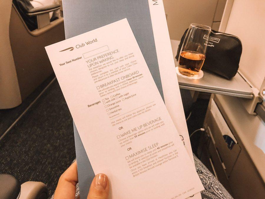 Menu on British Airways