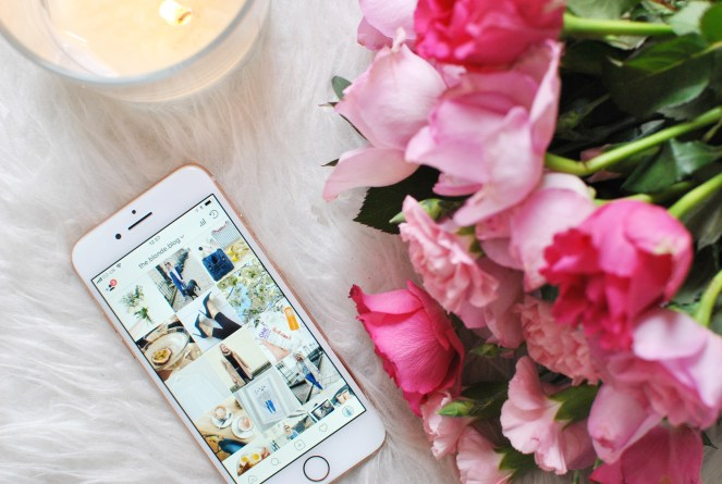 iphone instagram with flowers and candle me day