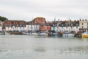 Weymouth harbour with boats and colourful houses Jurassic Coast Dorset