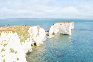 Jurassic Coast Dorset coastline with beach at Old Harry Rocks
