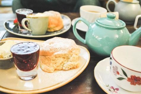 Cream tea at Corfe Castle village Jurassic Coast Dorset