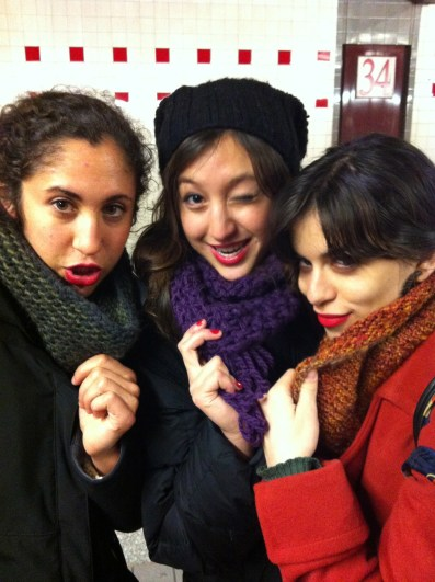 ...friends with red lips and hand-knit scarves.