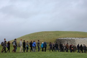 The class filing up to see Newgrange.