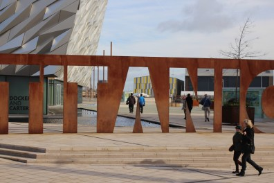 Outside the Titanic Museum in Belfast.