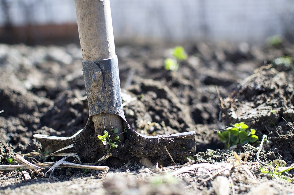 A shovel in some dirt