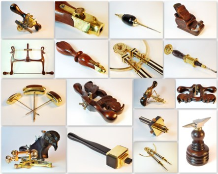 Gallery mosaic picture of many brass, ivory, and rosewood hand created fantasy woodworking tools by Jim Davis.