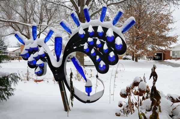 Blue Bottle Tree by Jim Davis, 2013, painted steel and salvaged glass bottles