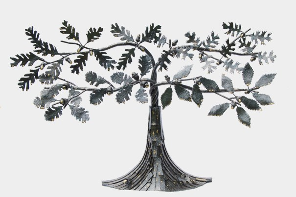 Image of metalwork steel sculpture of an oak tree with four different kinds of leaves, by Jim Davis
