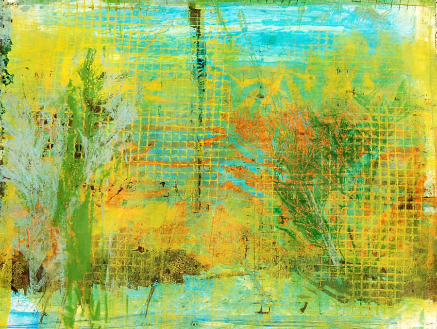 Monotype gelatin print in yellow, orange, and turquoise.