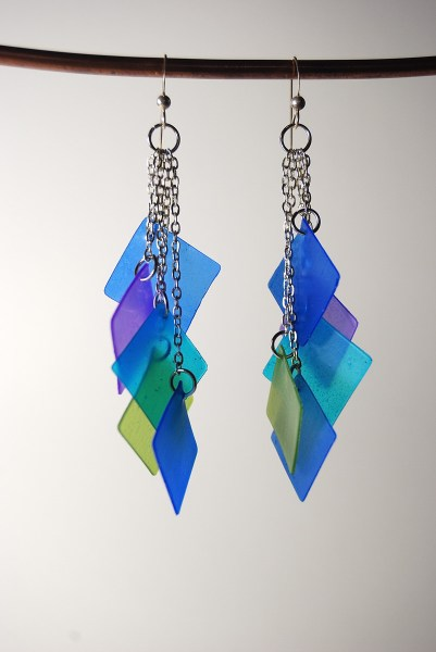 Dangling cascade earrings made with translucent Pardo Professional Art Clay.