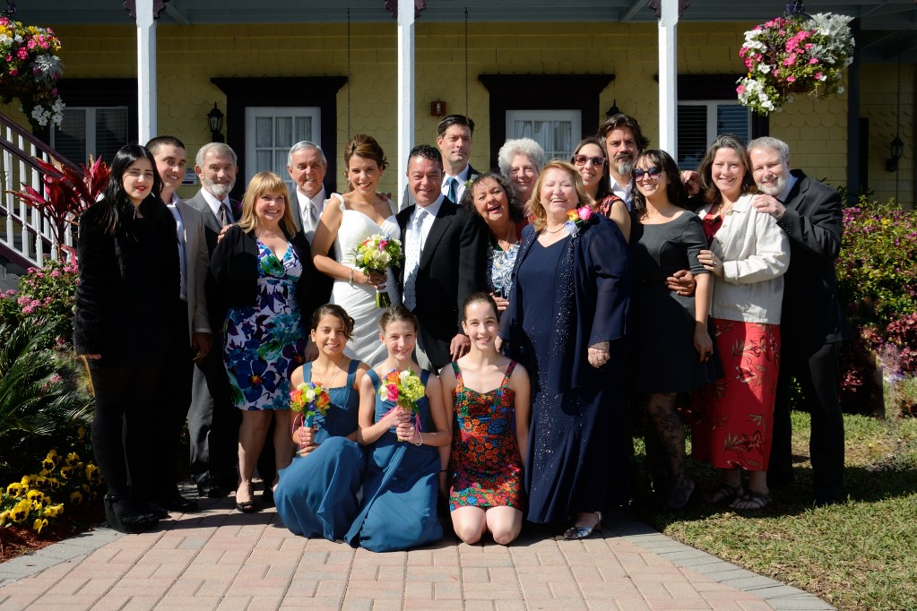 The combined Gil and Davis families gathered for Sam and Kat's wedding.
