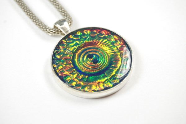 Dramatic and unique pendant made with the Holo Effect Tutorial from polymer clay by The Blue Bottle Tree.