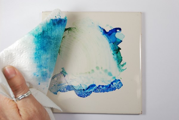 Use rubbing alcohol to clean up ink in the studio. More info at The Blue Bottle Tree.