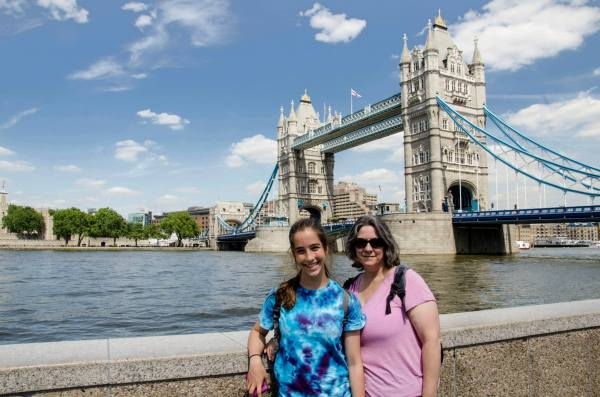 Lanie and Ginger in London by the Tower Bridge