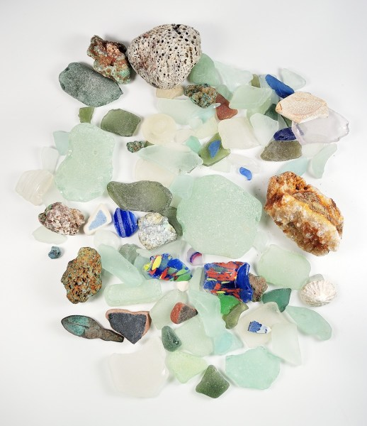 Authentic sea glass, bits of pottery, interesting rocks, and even a tiny copper spoon found on beaches during our recent trip to the UK.
