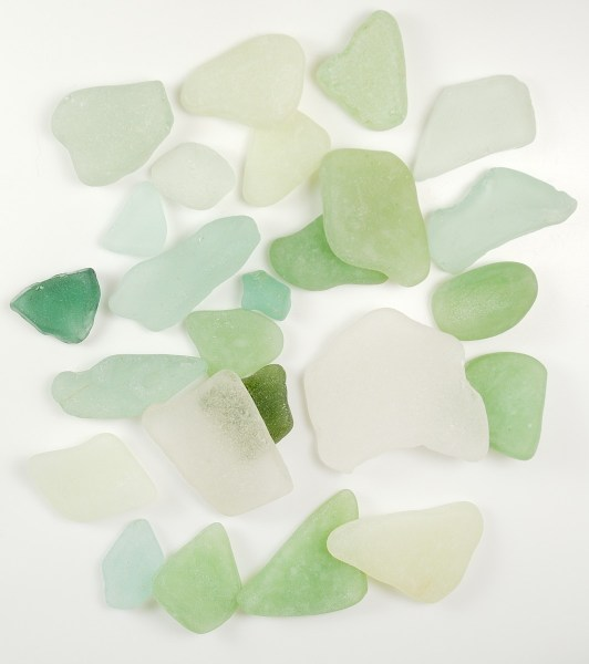Polymer clay faux sea glass is mixed with real sea glass in this picture, can you tell the difference?