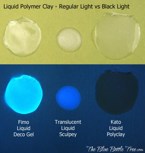 Liquid Fimo and Liquid Sculpey both glow under black light, but Liquid Kato does not. More at The Blue Bottle Tree.