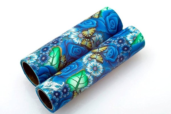 Blue flower pen tubes by Toni Ransfield