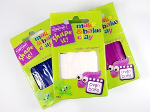 HobbyCraft sells a polymer clay under their own store brand, called Shape It! Make & Bake Clay.