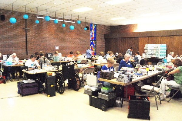 The large workroom at the 2015 Twisters  Poly Clay Retreat in Norman, Oklahoma, hosted by the Central Oklahoma Polymer Clay Guild.