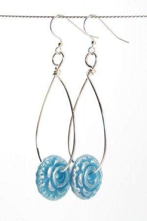Faux Glass and wire loop earrings.