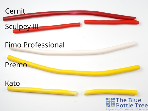 Thin ropes of baked polymer clay, see how Cernit is stronger than Sculpey III or Kato.
