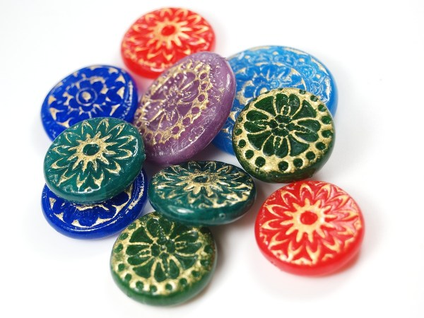 Translucent Cernit was used to create these faux Czech Glass beads, made from polymer clay.