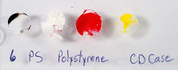Polystyrene, recycle number 6, is incompatible with polymer clay and will melt upon contact.