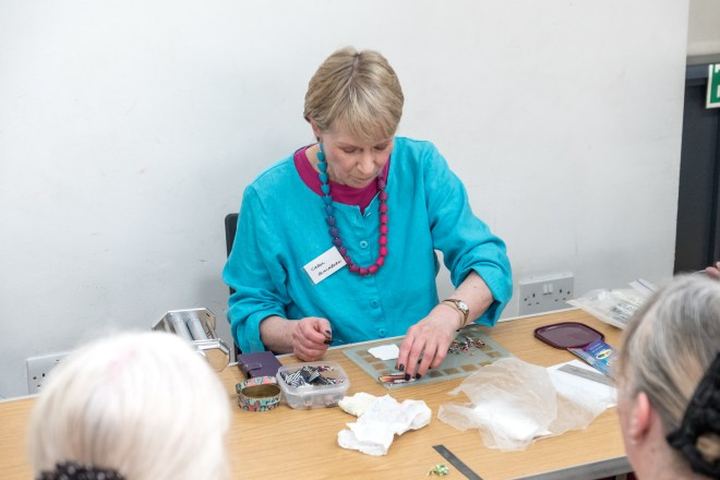 Here's Carol Blackburn from the British Polymer Clay Group, giving a demo.