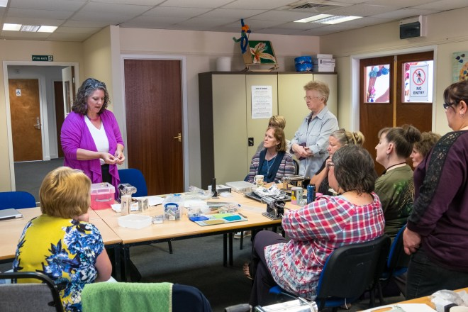 Ginger Davis Allman giving a talk to the East Midlands Polymer Clayground, which is one of the British Polymer Clay Guilds and Groups.