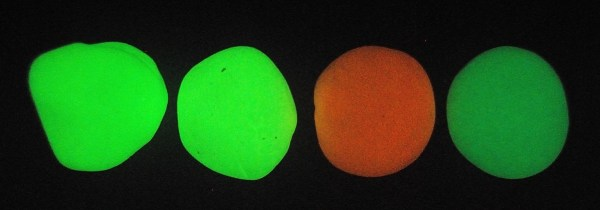 The Sculpey glow-in-the-dark clays do glow brightly, but only for a few seconds before fading.