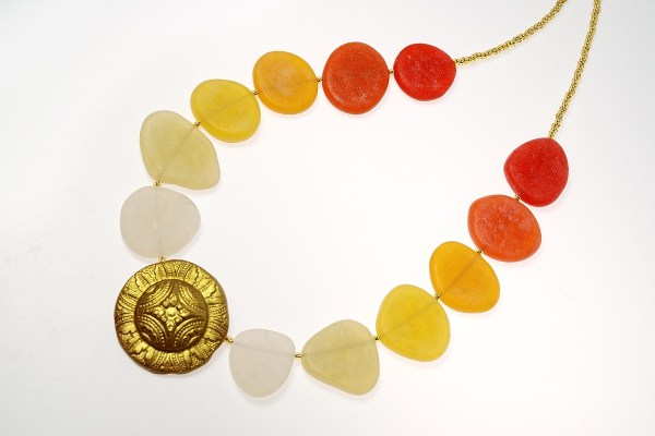 Warm colors of sea glass are very unusual and rare, but easily made using polymer clay.