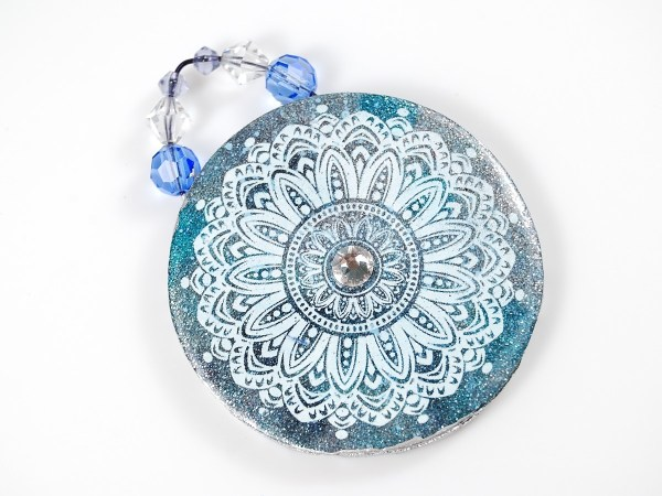 Beautiful Opulent Tapestry pendant made from polymer clay with the tutorial from The Blue Bottle Tree.