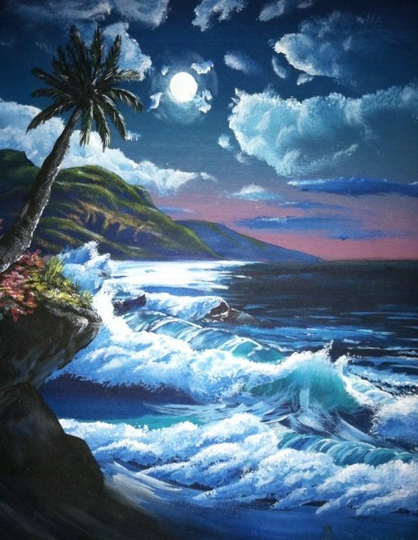 A seascape that Jennifer Sorensen painted when she was just 14 years old, done in the style of Bob Ross.