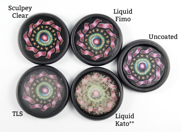 Here's how different liquid clays compare when used as a coating in a bezel.