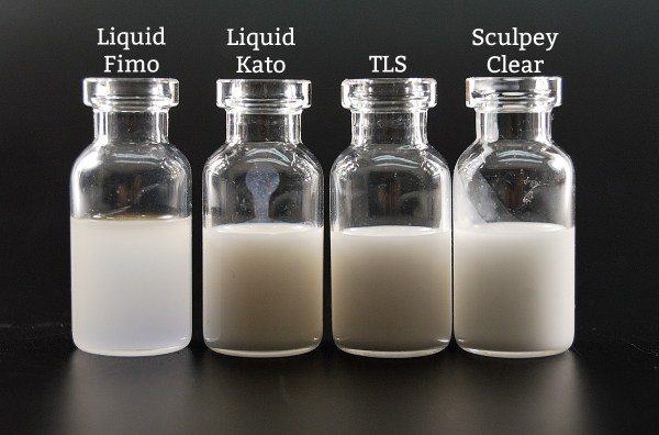 Liquid polymer clay is not very clear before baking.