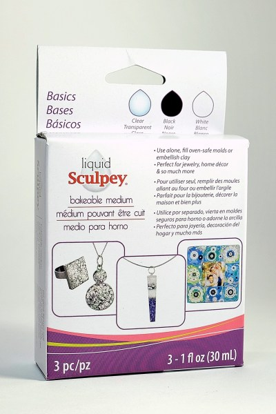 Sculpey liquid clay brands are now available in sets of three small bottles.
