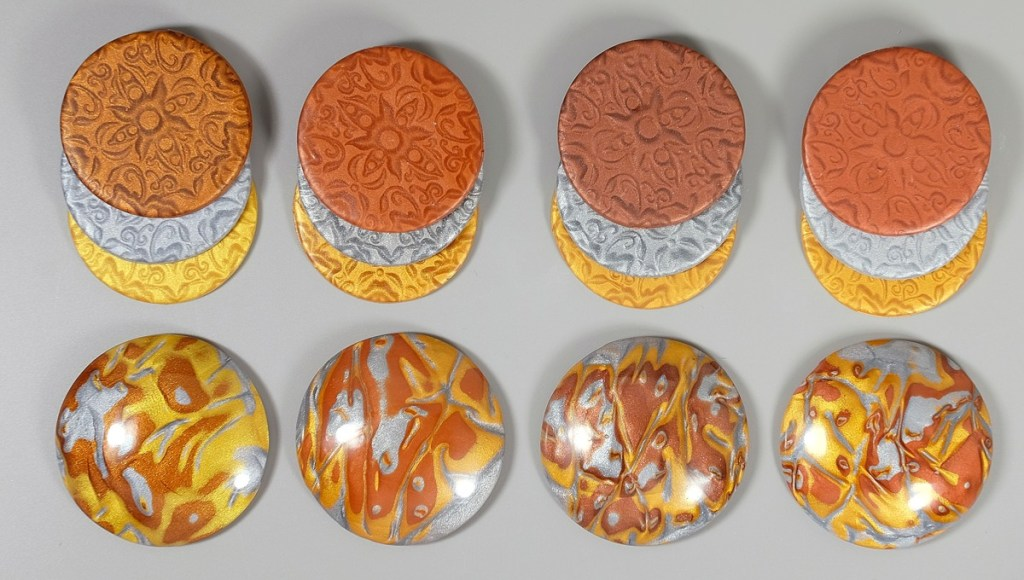 Brand comparison of metallic polymer clay.