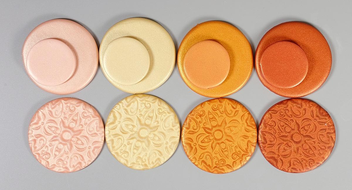 Cernit Metallic orange and pink colors.