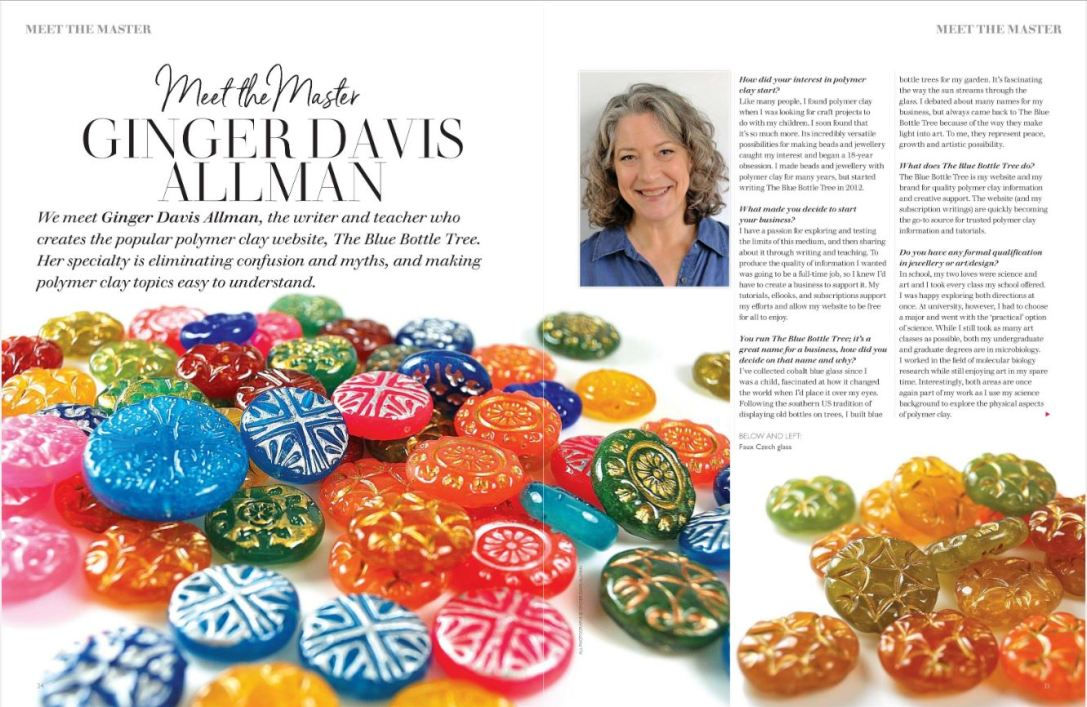 Meet the Maker, Ginger Davis Allman, in the polymer clay issue of Making Jewellery Magazine.