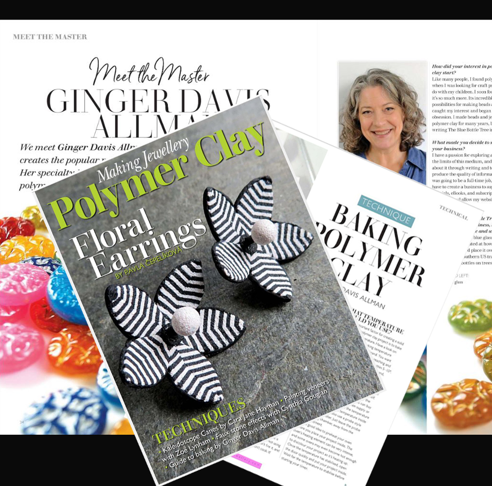Making Jewellery magazine's special polymer clay issue features an article and interview with Ginger Davis Allman.